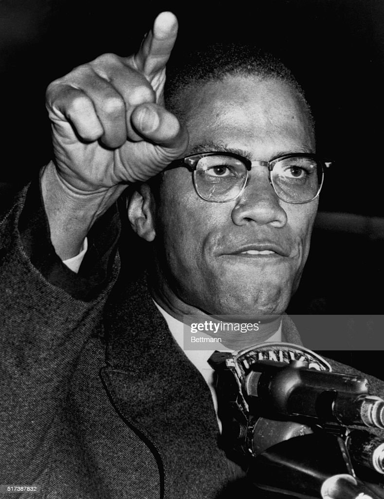 Nation of Islam National Minister Malcom X addresses a rally on May 14, 1963, in Harlem in support of desegregation in Birmingham, Alabama.