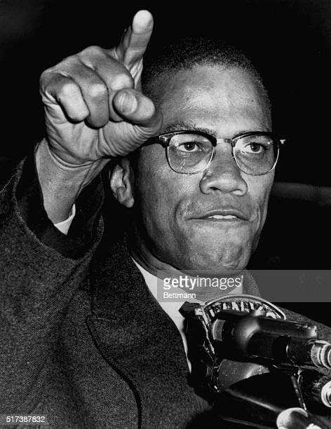 Nation of Islam National Minister Malcom X addresses a rally on May 14 in Harlem in support of desegregation in Birmingham Alabama
