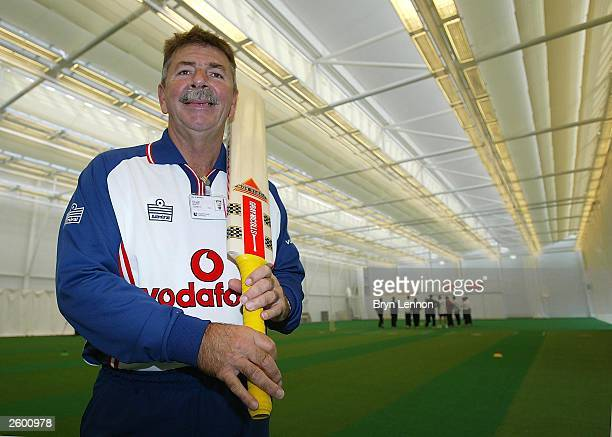 National Academy Director Rod Marsh poses for photograph in the main hall during a press conference to view the ECB National Cricket Academy at...