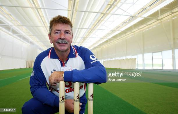 National Academy Director Rod Marsh poses in the main hall during a press conference to view the ECB National Cricket Academy at Loughborough...