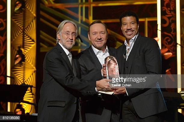 National Academy of Recording Arts and Sciences President Neil Portnow actor Kevin Spacey and honoree Lionel Richie pose onstage during the 2016...