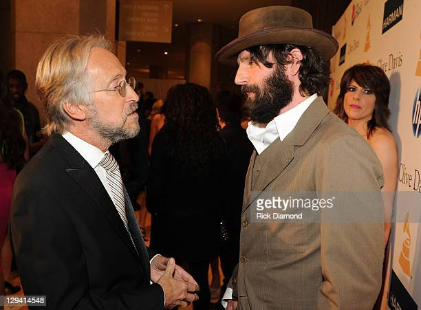 National Academy of Recording Arts and Sciences president Neil Portnow and singer Ray Lamontagne arrive at the 2011 Pre-GRAMMY Gala and Salute To...