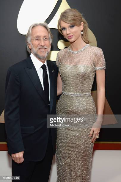 National Academy of Recording Arts and Sciences President Neil Portnow and singer Taylor Swift attend the 56th GRAMMY Awards at Staples Center on...