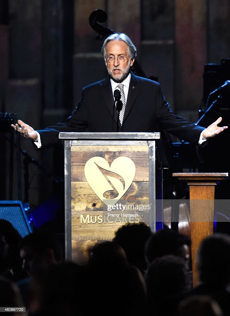 National Academy of Recording Arts and Sciences President Neil Portnow soeajs onstage at the 25th anniversary MusiCares 2015 Person Of The Year Gala honoring Bob Dylan at the Los Angeles Convention Center on February 6, 2015 in Los Angeles, California. The annual benefit raises critical funds for MusiCares' Emergency Financial Assistance and Addiction Recovery programs.