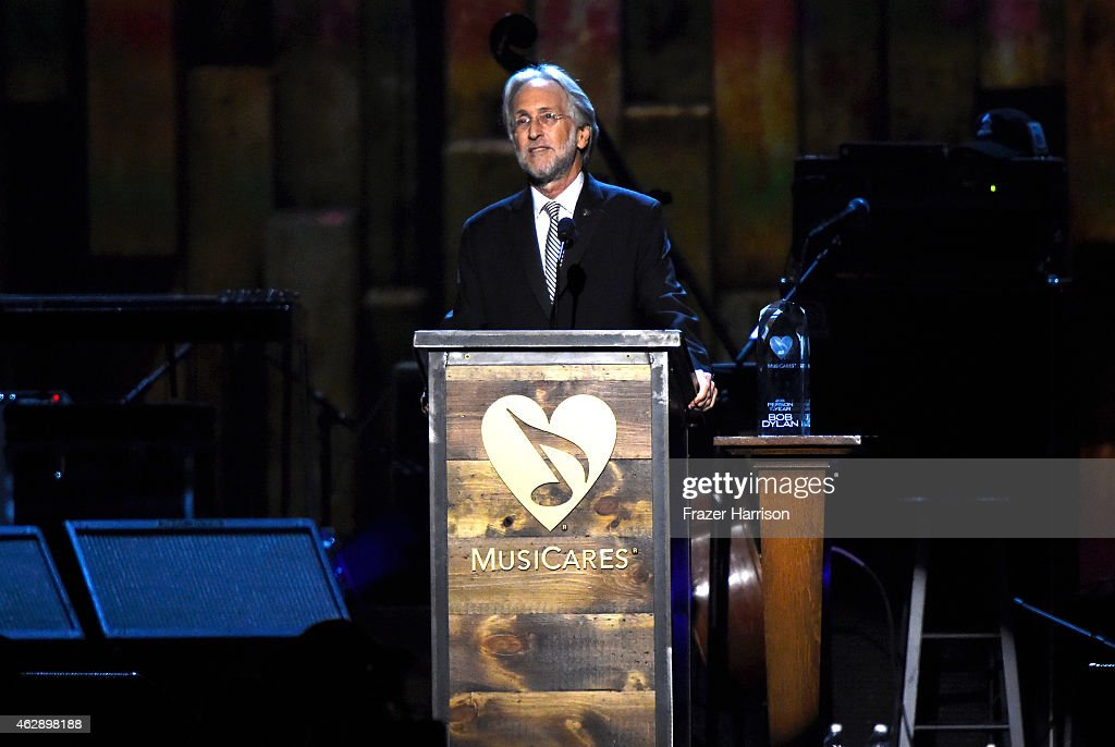 National Academy of Recording Arts and Sciences President Neil Portnow speaks onstage at the 25th anniversary MusiCares 2015 Person Of The Year Gala honoring Bob Dylan at the Los Angeles Convention Center on February 6, 2015 in Los Angeles, California. The annual benefit raises critical funds for MusiCares' Emergency Financial Assistance and Addiction Recovery programs.