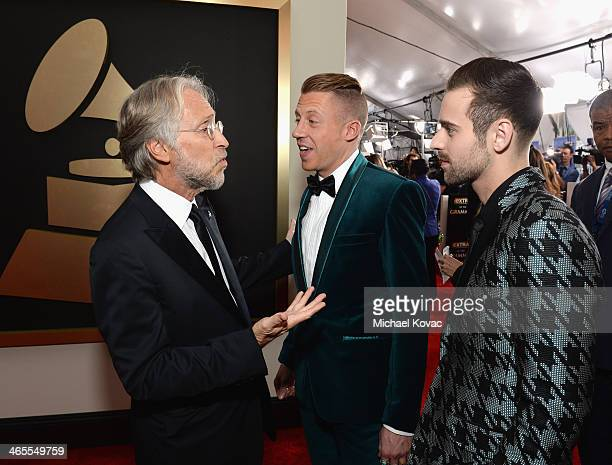 National Academy of Recording Arts and Sciences President Neil Portnow, Recording artist Macklemore and producer Ryan Lewis attend the 56th GRAMMY...