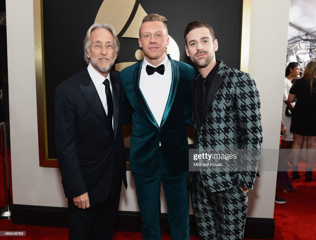 National Academy of Recording Arts and Sciences President Neil Portnow, Recording artist Macklemore and producer Ryan Lewis attend the 56th GRAMMY Awards at Staples Center on January 26, 2014 in Los Angeles, California.