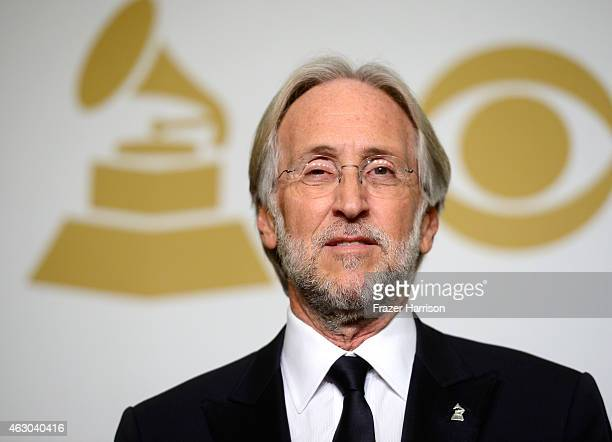 National Academy of Recording Arts and Sciences President Neil Portnow poses in the press room during The 57th Annual GRAMMY Awards at the STAPLES...