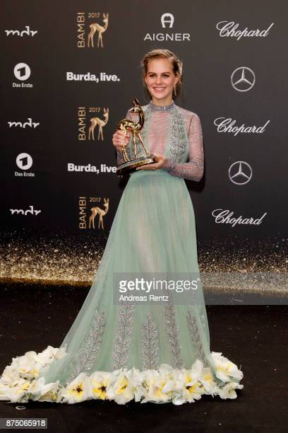 'National Actress' Award Winner Alicia von Rittberg poses with award at the Bambi Awards 2017 winners board at Stage Theater on November 16 2017 in...