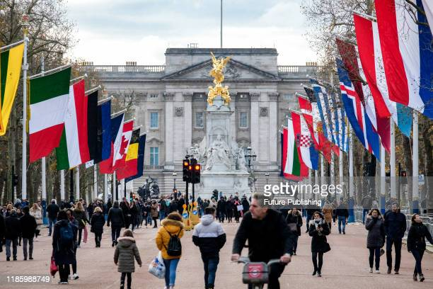KINGDOM DECEMBER 01 2019 National and NATO flags on The Mall in preparation for the NATO summit PHOTOGRAPH BY Matthew Chattle / Barcroft Media