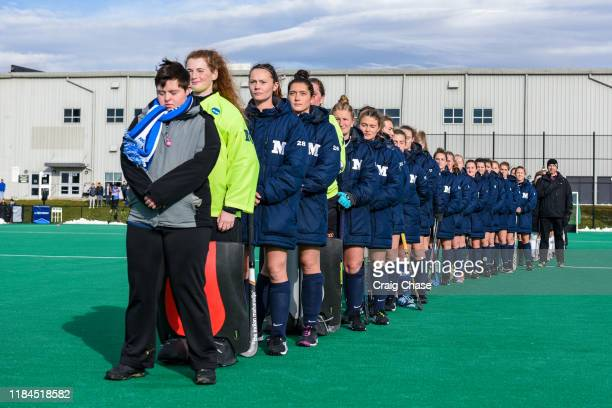 National anthem before the Franklin Marshall Diplomats against the Middlebury Panthers at the Division III Women's Field Hockey Championship held at...