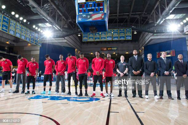 National anthem before the the Delaware 87ers v the Erie BayHawks during an NBA GLeague game on January 20 2018 at the Bob Carpenter Center...