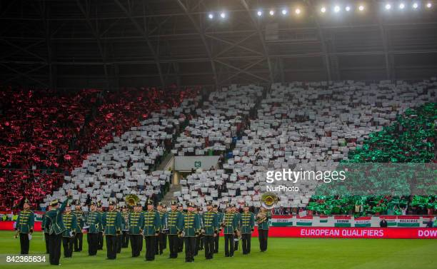 National anthem before the World Cup qualification match between Hungary and Portugal at Groupama Arena on Nov 03 2017 in Budapest Hungary