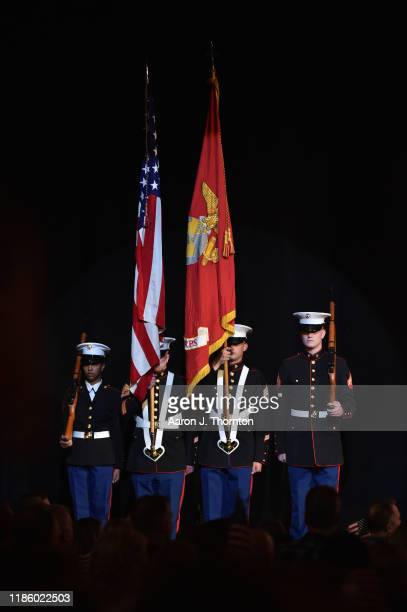 "National anthem is performed during ""Stars and Strings Presented by RAM Trucks Built to Serve,"" a RADIO.COM Event, at the Fox Theatre on November 06,..."