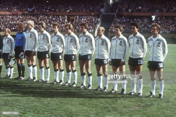 National anthem lineup of the German national football team at the Buenos Aires Estadio Monumental stadium prior to the 1978 FIFA World Cup opening...