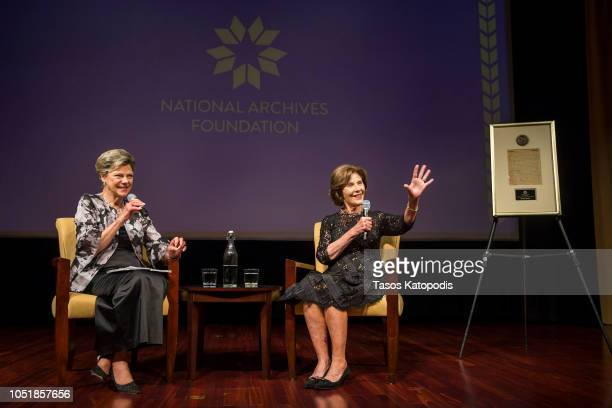 National Archives Foundation Vice Chair of Board Cokie Roberts and Former First Lady Laura Bush onstage at the National Archives Foundation Annual...