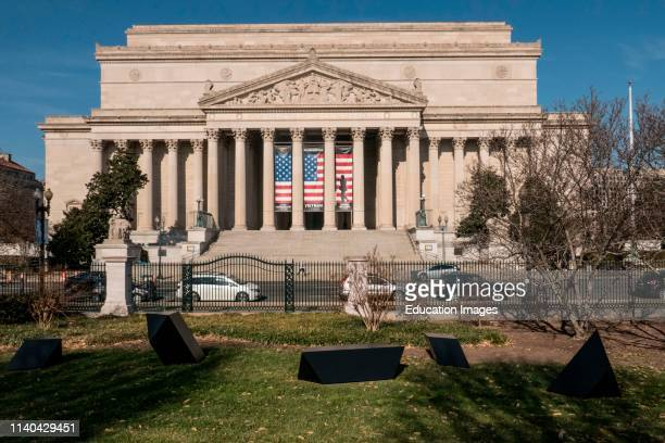 National Archives seen from the Sculpture Garden across Constitution Avenue Washington DC