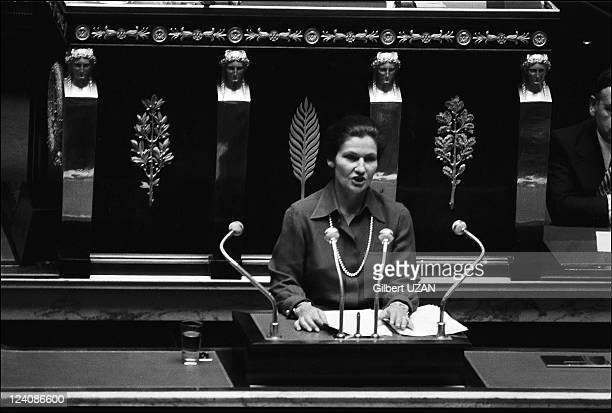 National Assembly debate over abortion headed by Simone Veil in Paris France in November1974