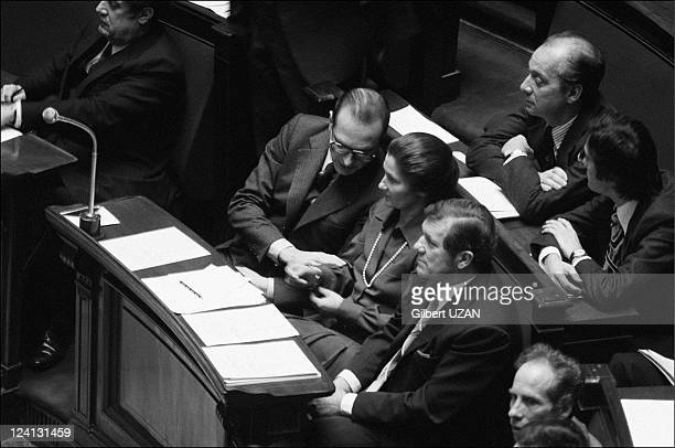 National Assembly debate over abortion in Paris France in November 1974 Jacques Chirac and Simone Veil