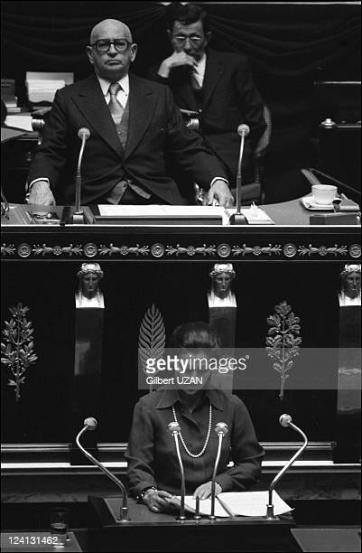 National Assembly debate over abortion in Paris France in November1974 Simone Veil