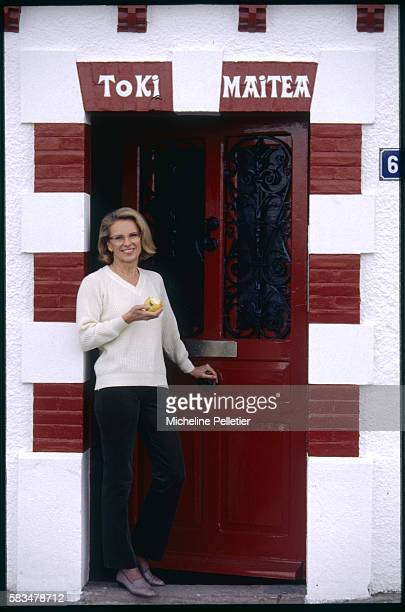 National Assembly Deputy for the PyreneesAtlantiques region Michele AlliotMarie relaxes in her home town of Ciboure | Location Ciboure France