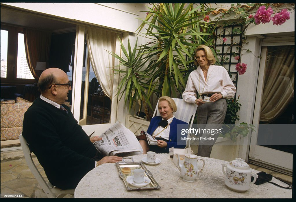National Assembly Deputy for the Pyrenees-Atlantiques region, Michele Alliot-Marie, visits her parents, Bernard and Renee Marie, in Biarritz.