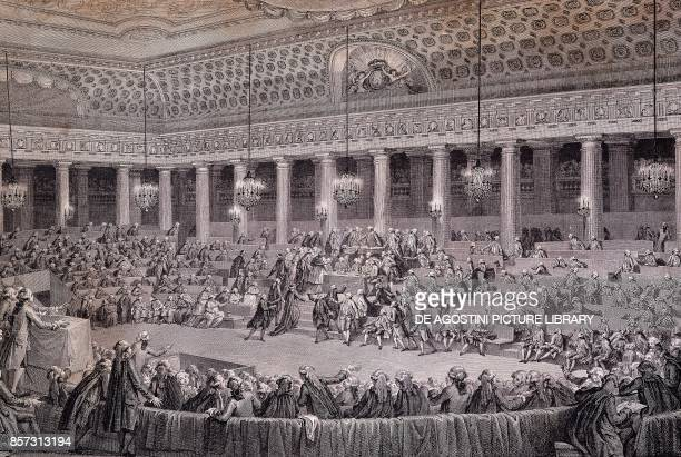 National Assembly session for the abolition of privileges and feudal rights Versailles August 4 engraving France 18th century