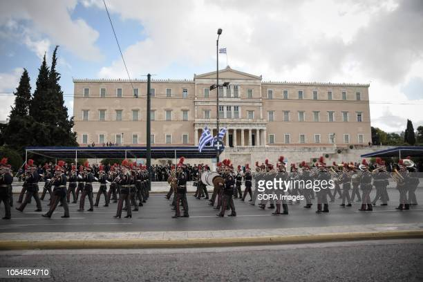 National band seen passing in front of the Greek Parliament during the celebrations The national Oxi Day commemorates the rejection by Greek Prime...