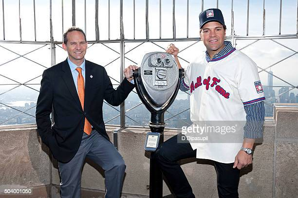 National Baseball Hall of Fame and Museum president Jeff Idelson and Mike Piazza visit the Empire State Building on January 8, 2016 in New York City.