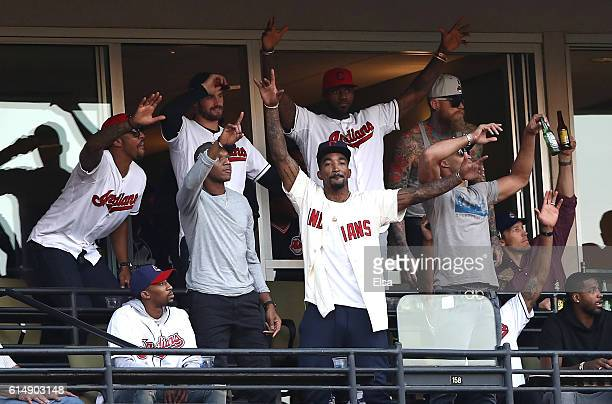 National Basketball Association Cleveland Cavaliers attend game two of the American League Championship Series between the Toronto Blue Jays and the...