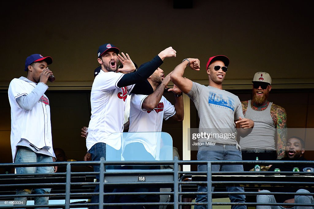 National Basketball Association Cleveland Cavaliers Richard Jefferson, Kevin Love and Chris Andersen joke around during game two of the American League Championship Series between the Toronto Blue Jays and the Cleveland Indians at Progressive Field on October 15, 2016 in Cleveland, Ohio.