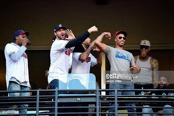 National Basketball Association Cleveland Cavaliers Richard Jefferson Kevin Love and Chris Andersen joke around during game two of the American...