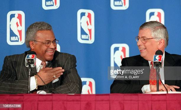 National Basketball Association Commissioner David Stern and Billy Hunter executive director of the Players Association confer during a press...