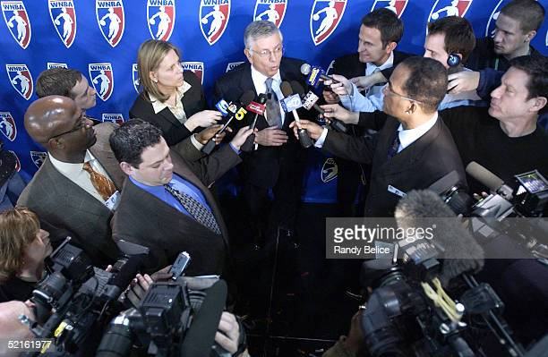 National Basketball Association Commissioner David Stern answers questions from the media during a WNBA press conference to announce the new Chicago...