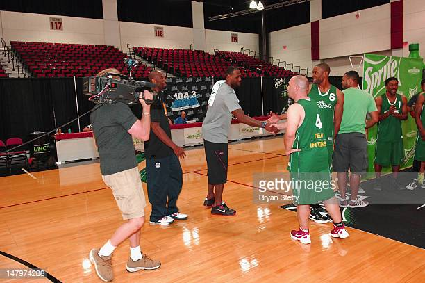 National Basketball Association Players, Kobe Bryant and LeBron James attend the Sprite Uncaontainable Game Captain's Event on July 6, 2012 in Las...