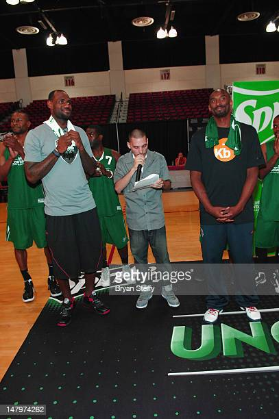 National Basketball Association Players LeBron James and Kobe Bryant attend the Sprite Uncaontainable Game Captain's Event on July 6 2012 in Las...