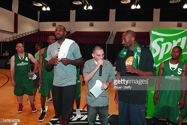 National Basketball Association Players, LeBron James and Kobe Bryant attend the Sprite Uncaontainable Game Captain's Event on July 6, 2012 in Las...