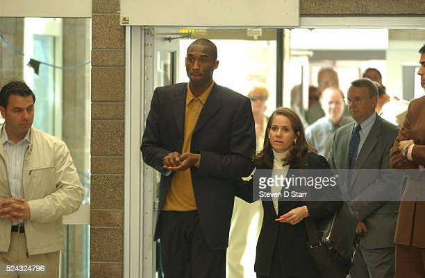 National Basketball Association star Kobe Bryant arrives with his attorney Pamela Mackey at the Eagle County Courthouse after he attended a...