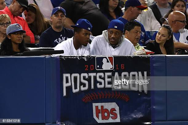 National Basketball Association Toronto Raptors players DeMar DeRozan and Kyle Lowry attend game three of the American League Championship Series...