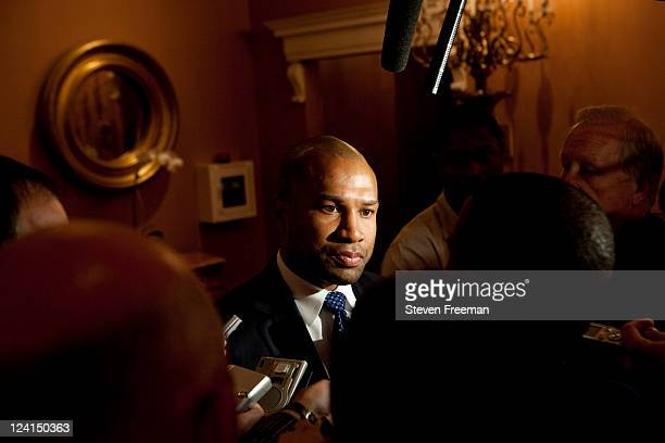 National Basketball Player's Association President Derek Fisher addresses the media about the Labor Relation Meetings on September 8 2011 at the...