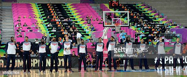 US national basketball team players ahead of the 2014 FIBA Basketball World Cup quarter final match between Slovenia and USA at the Palau Sant Jordi...