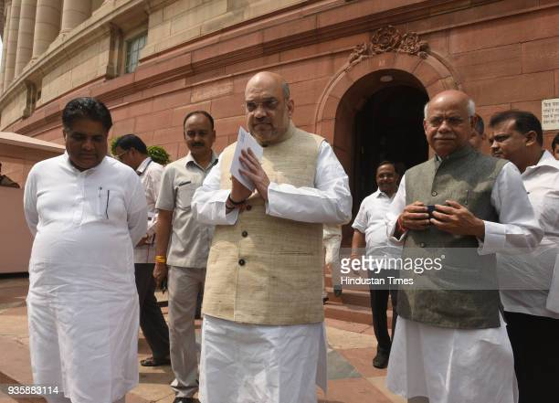 National BJP President and Rajya Sabha MP Amit Shah with other MPs during the Parliament Budget Session in New Delhi India on Wednesday March 21 2018