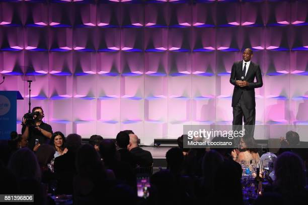 National Board Member Dikembe Mutombo speaks onstage during 13th Annual UNICEF Snowflake Ball 2017 at Cipriani Wall Street on November 28 2017 in New...