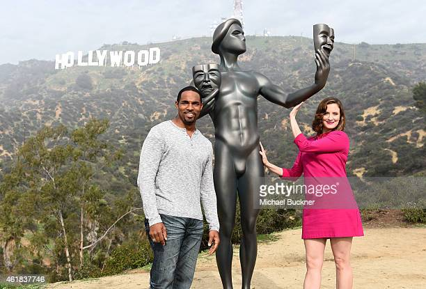 National Board Member Jason George and actress Julie Lake attend SAG Awards's Actor visit to the Hollywood Sign on January 20 2015 in Hollywood...