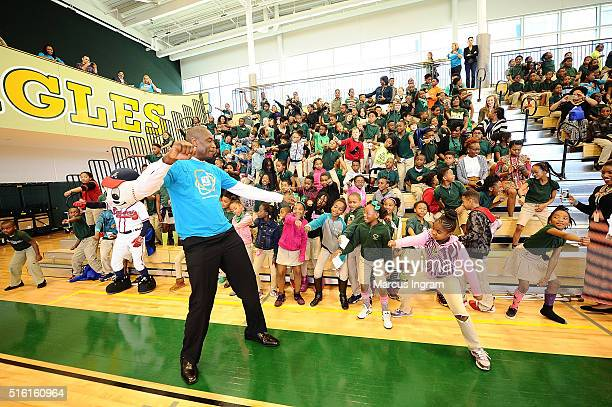 National Board Member US Fund for UNICEF Chairman Dikembe Mutombo attends UNICEF Kid Power Event at Charles R Drew Charter School on March 17 2016 in...