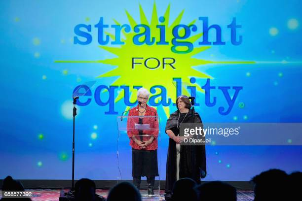 National Board President Jean Hodges and PFLAG National Interim Board Executive Beth Kohm speak on stage during the ninth annual PFLAG National...