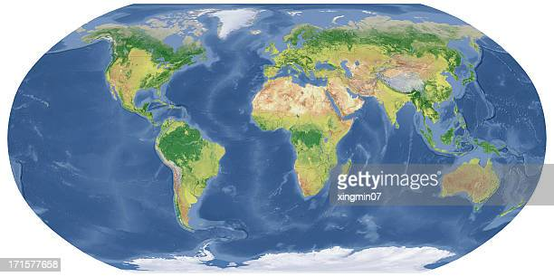 National Border,world map in Robinson Projection