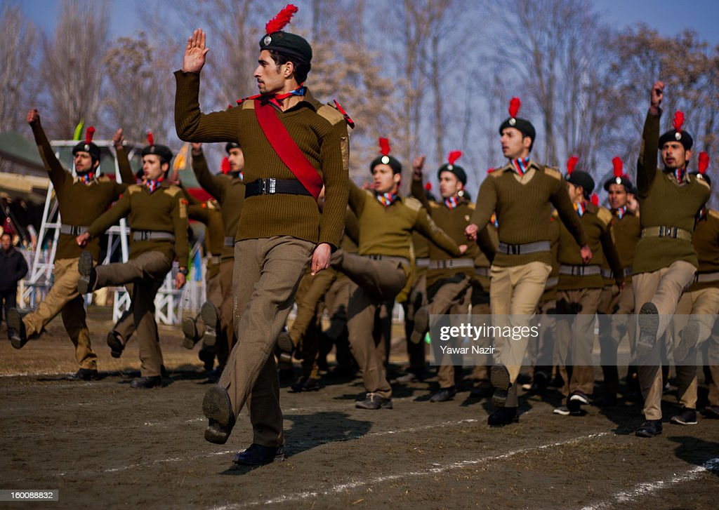 National Cadet Corps (NCC) members salute during India's Republic Day celebrations on January 26, 2013 in Srinagar, the summer capital of Indian Administered Kashmir. All businesses, schools and shops were closed and traffic remained off the roads following a strike call given by Kashmiri separatist leaders against India's Republic Day celebrations in Kashmir. Meanwhile India deployed large numbers of Indian police and paramilitary forces to prevent any incidents during the official celebrations.