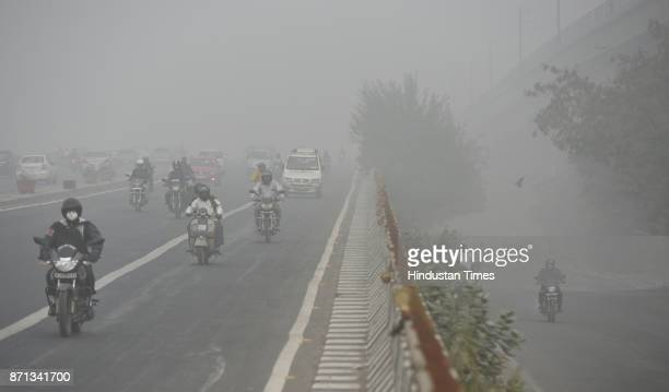 National capital saw a sharp fall in air quality on Tuesday morning near Mayur Vihar on November 7 2017 in New Delhi India Delhi woke up to a thick...