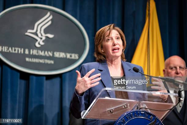 National Center for Immunization and Respiratory Diseases Director Nancy Messonnier speaks during a press conference today at the Department of...